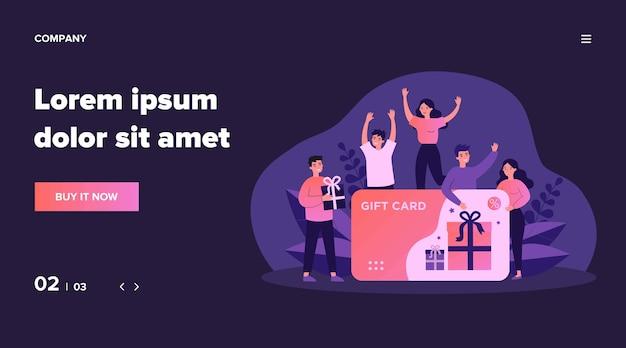 기프트 카드를받는 고객. 할인 카드, 쿠폰 또는 바우처에 대해 행복한 쾌활한 사람들. 판매, 로열티 프로그램, 보너스, 프로모션 개념에 대한 그림