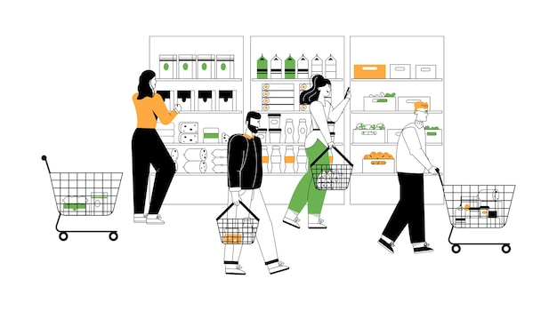 Customers at grocery or supermarket scene.
