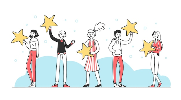 Customers holding review stars illustration