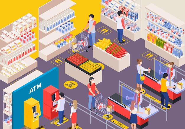 社会的距離等角図のマークアップを使用してスーパーマーケットのインテリアの顧客