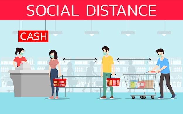 Customers keep social distancing to prevent coronavirus or covid-19 in supermarket.