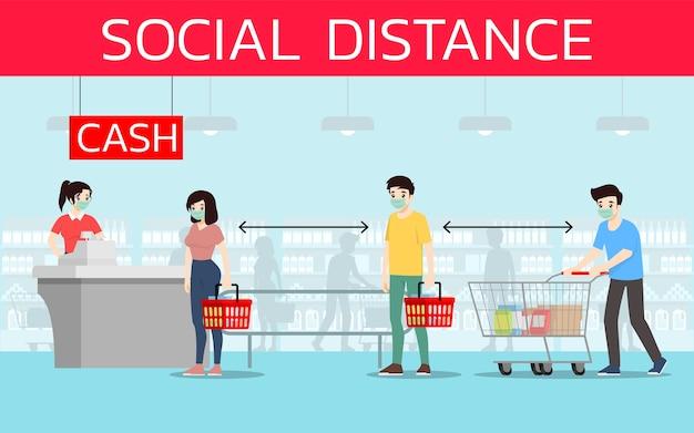 고객은 슈퍼마켓에서 코로나 바이러스 또는 코로나 19를 예방하기 위해 사회적 거리를 유지합니다.