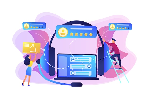 Customers at laptop and headset giving thumb up, rating stars. customer feedback, customer rating feedback, customer relationship management concept.
