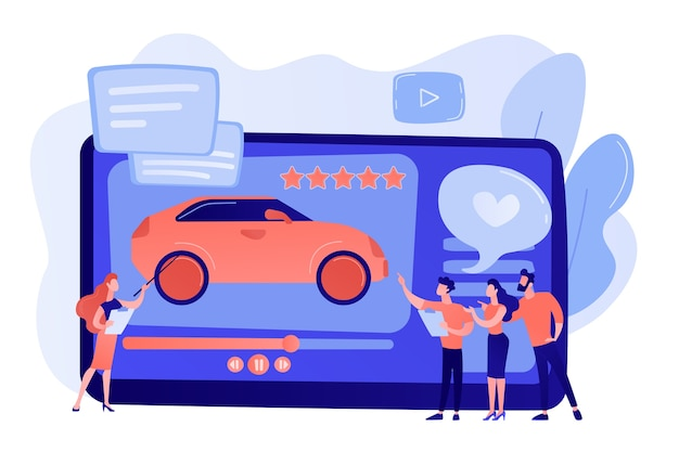 Customers like video with experts and modern car review with rating stars. car review video, test-drive channel, auto video advertising concept