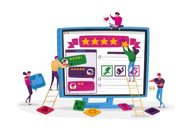 Customers online review, ranking and rating concept.