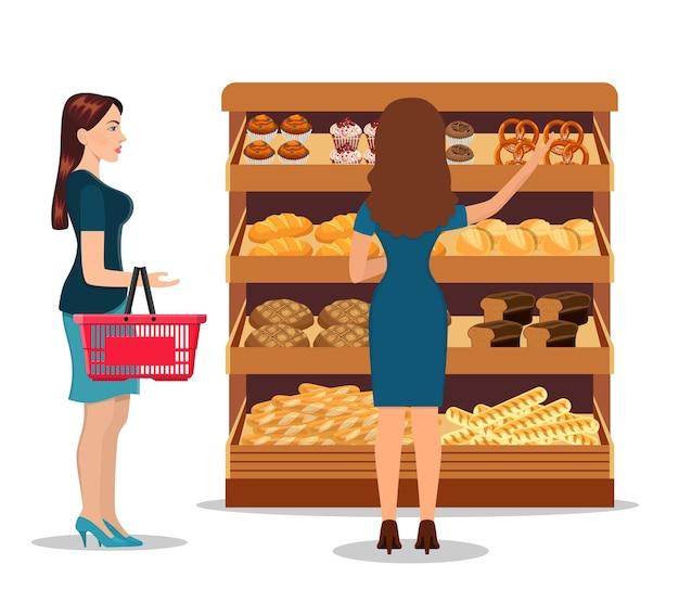 Люди покупают продукты в супермаркете
