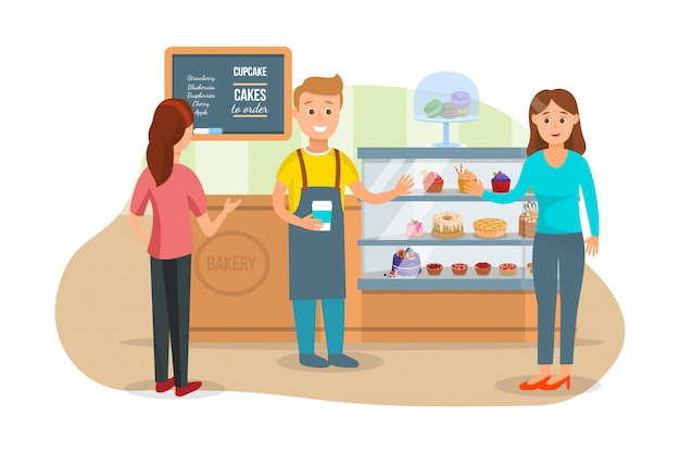 Customers and shopman at bakery shop
