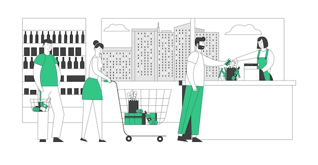 Покупатели стоят в очереди у продуктового магазина или супермаркета с товарами в тележке