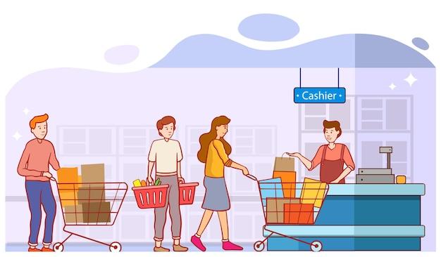 顧客はスーパーマーケットやデパートのレジ係のデスクにあるショッピングトロリーの商品と並んで支払いをします。購入とキャッシャーでのキュー、店でのキュー、漫画フラットベクトルデザイン