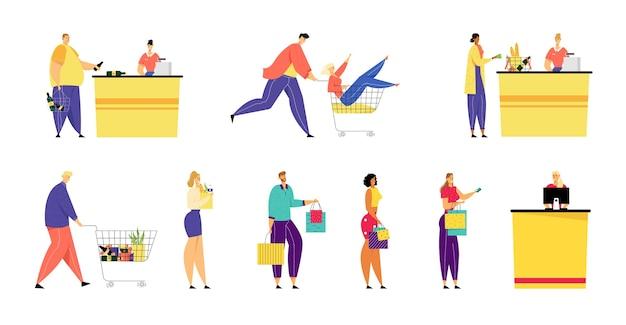 Покупатели стоят в очереди в супермаркете и продуктовом магазине с товарами в бумажных пакетах и тележке для покупок