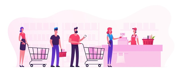 Customers stand in line at grocery or supermarket turn with goods in shopping trolley put buys on cashier desk for paying. purchases, sale consumerism, queue in store cartoon flat vector illustration
