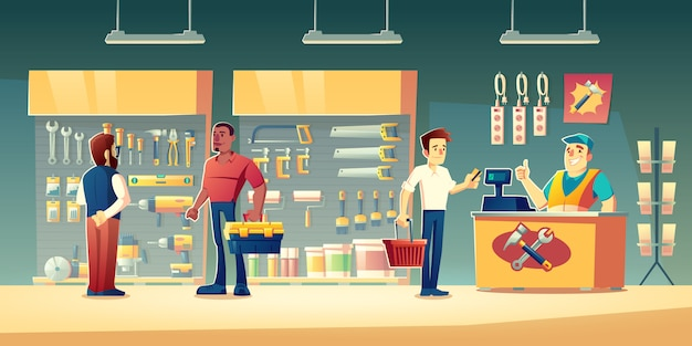 Customers in tools store illustration