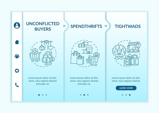 Customers types onboarding vector template. responsive mobile website with icons. web page walkthrough 3 step screens. spendthrifts, tight-fisted buyers color concept with linear illustrations