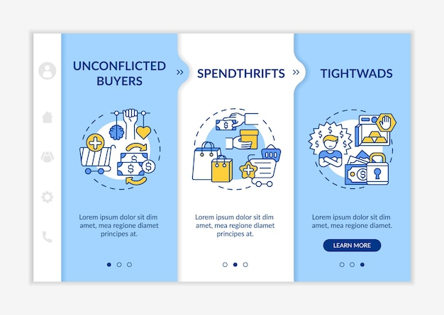 Customers types onboarding vector template. responsive mobile website with icons. web page walkthrough 3 step screens. unconflicted buyers, tightwads color concept with linear illustrations
