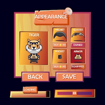 Customization character appearance menu pop up and loading bar with old wooden game ui kit style