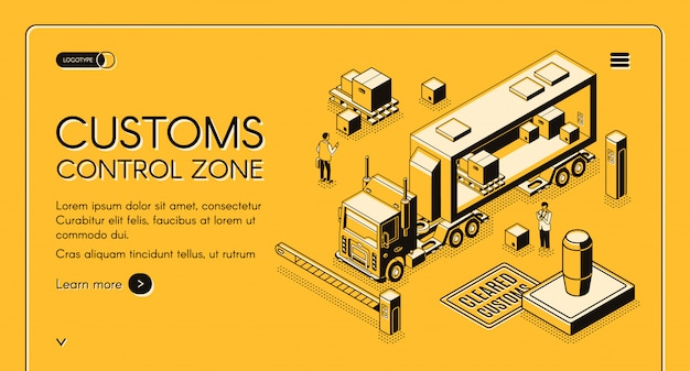 Customs control zone online services web banner with customs officers inspecting