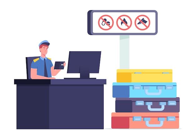スーツケースの山で観光客の外国のパスポートを探してコンピューターで机に座っている税関職員の男性キャラクター