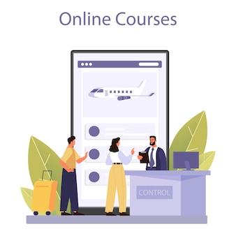 税関職員のオンラインサービスまたはプラットフォーム。オンラインコース。フラットベクトル図