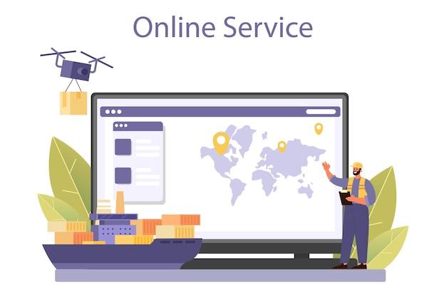 Онлайн-сервис или платформа таможенника. паспортный контроль в аэропорту. пункт международной торговли и доставки. интернет сервис. плоские векторные иллюстрации