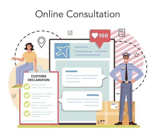 Customs officer online service or platform. online consultation. flat vector illustration