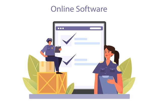 Customs officer online service or platform. passport control at the airport. international trade and destribution checkpoint. online software. flat vector illustration