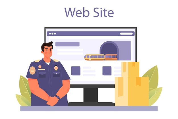 Customs officer online service or platform passport control at the airport
