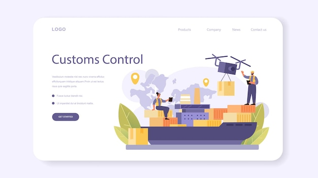 Customs officer web banner or landing page. passport control at the airport. metal detector control. international trade and destribution checkpoint and registration. flat vector illustration