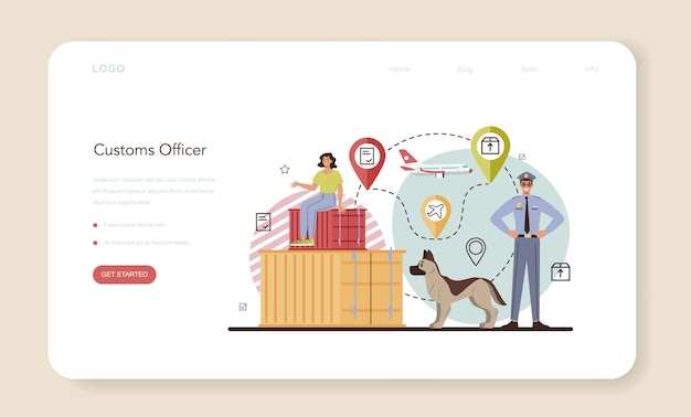 Customs officer web banner or landing page. passport control