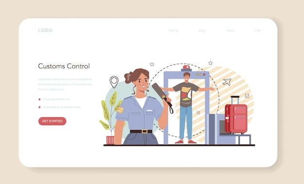 Веб-баннер или целевая страница таможенника. паспортный контроль