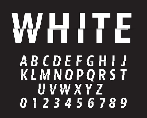 Cut alphabet font template. letters and numbers cutting design.