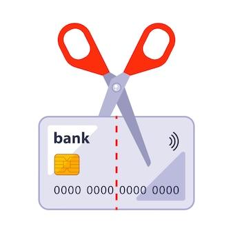 白い背景で隔離はさみのイラストで古い銀行カードをカットします。