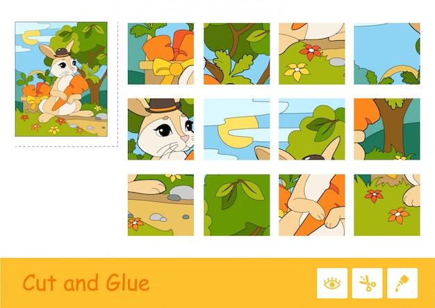カラフルなベクトル画像をカットして接着し、バスケットにニンジンを選ぶ帽子のウサギと子供たちのゲームを学習するパズル。