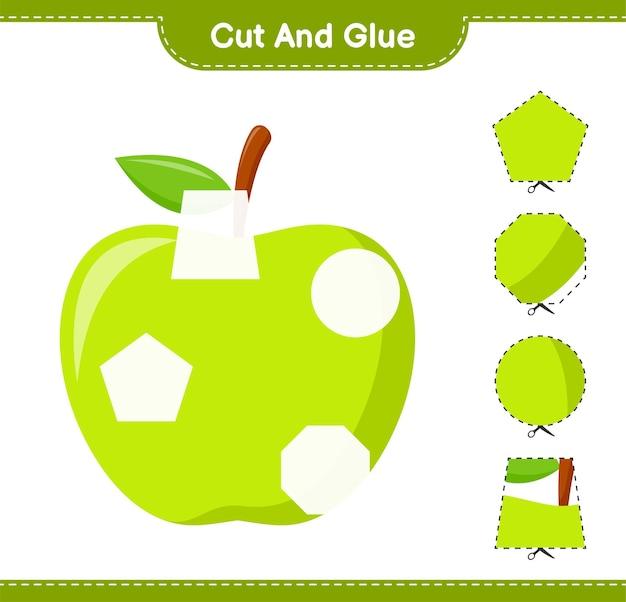 Вырежьте и склейте, вырежьте части яблока и приклейте. развивающая детская игра, лист для печати