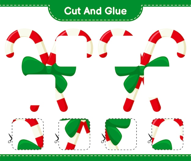 Вырежьте и склейте, вырежьте кусочки леденцов с лентой и приклейте. развивающая детская игра, лист для печати