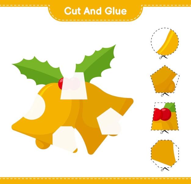 Вырежьте и склейте, вырежьте части рождественского колокольчика и приклейте их. развивающая детская игра, лист для печати
