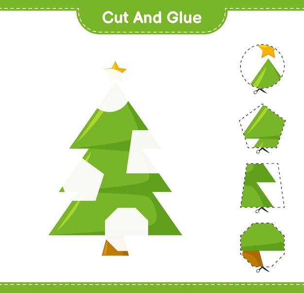 カットして接着し、クリスマスツリーの一部をカットして接着します。教育的な子供向けゲーム、印刷可能なワークシート