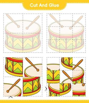 드럼의 자른 부분을 자르고 붙이고 붙입니다. 교육용 어린이 게임 인쇄용 워크 시트
