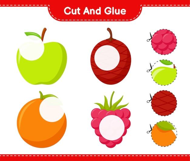 Вырежьте и склейте, вырежьте части фруктов и приклейте их. развивающая детская игра, лист для печати