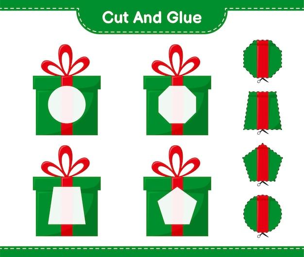 Вырежьте и склейте, вырежьте части подарочных коробок и приклейте их. развивающая детская игра, лист для печати