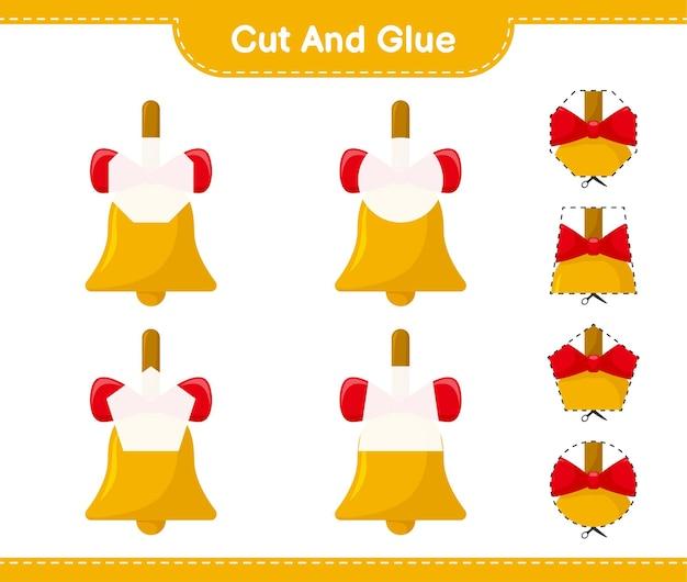 Вырежьте и склейте, вырежьте части золотых рождественских колокольчиков и приклейте. развивающая детская игра, лист для печати