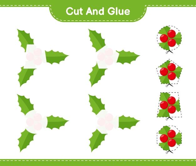 Вырежьте и склейте, вырежьте части ягод падуба и приклейте их. развивающая детская игра, лист для печати