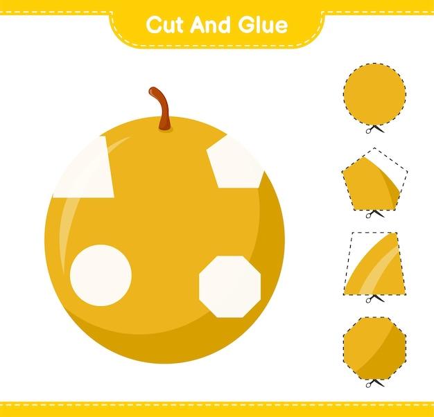 허니 멜론의 일부를 자르고 붙이고, 자르고 붙입니다. 교육용 어린이 게임, 인쇄 가능한 워크 시트