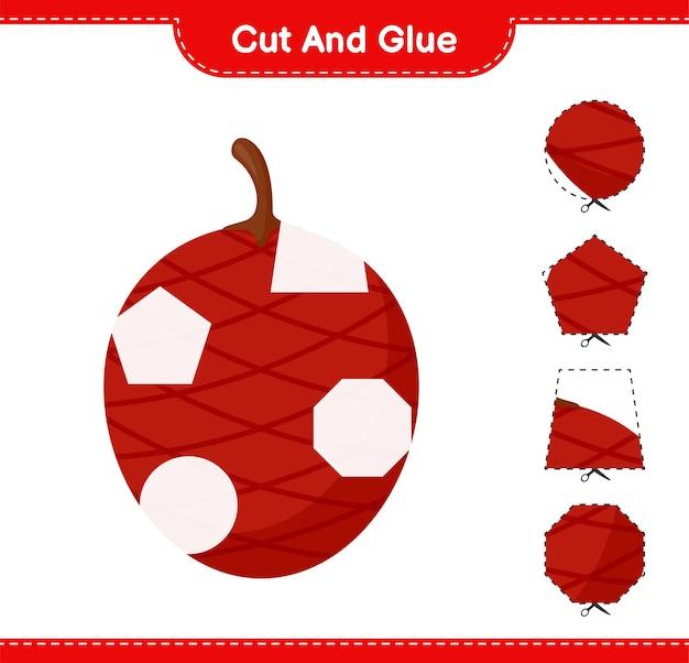 Ita palm의 일부를 자르고 붙이고, 자르고 붙입니다. 교육용 어린이 게임, 인쇄 가능한 워크 시트