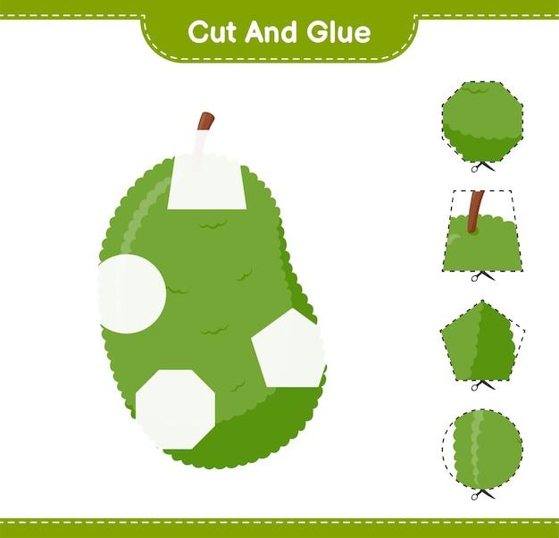 Jackfruit의 일부를 자르고 붙이고, 자르고 붙입니다. 교육용 어린이 게임, 인쇄 가능한 워크 시트
