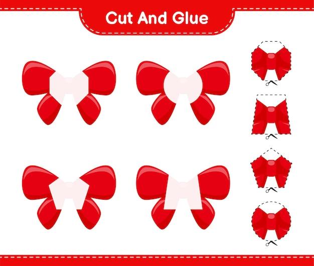 Вырежьте и склейте, вырежьте части лент и приклейте их. развивающая детская игра, лист для печати