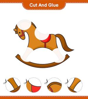 Вырежьте и склейте вырезанные части лошадки-качалки и склейте их развивающая детская игра