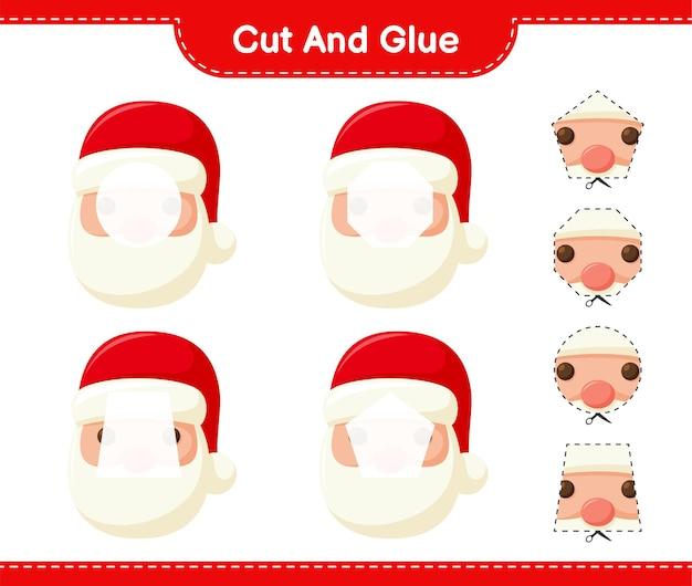 Вырежьте и склейте, вырежьте части деда мороза и склейте их. развивающая детская игра, лист для печати