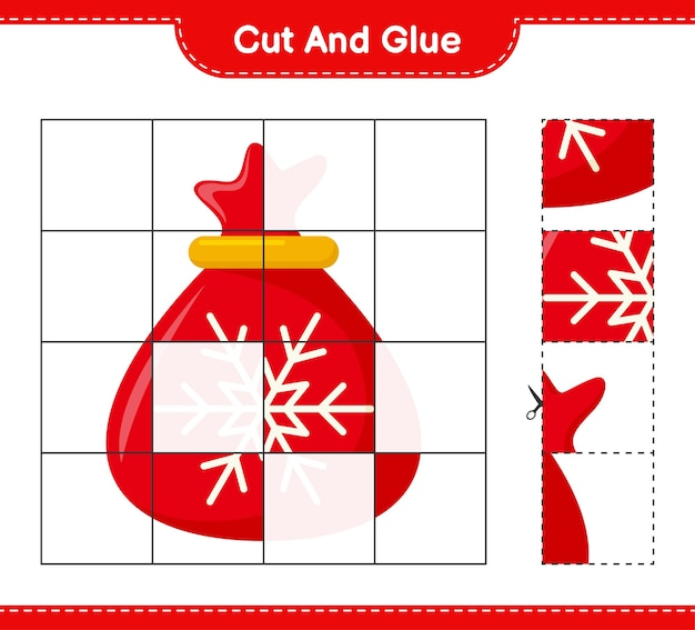 カットして接着し、サンタクロースバッグの一部をカットして接着します。教育的な子供向けゲーム、印刷可能なワークシート