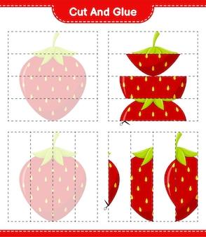 カットして接着し、イチゴの一部をカットして接着します。教育的な子供向けゲーム、印刷可能なワークシート