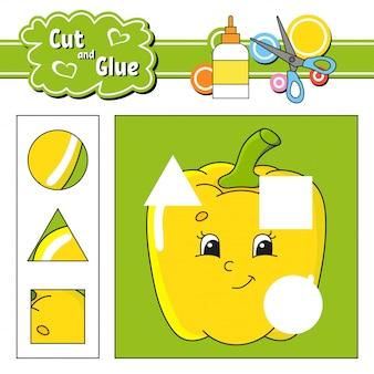 Резать и клеить. игра для детей. рабочий лист развития образования.